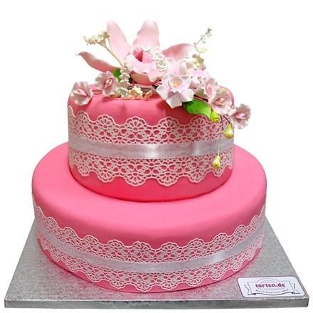 Torte Mit Orchidee 2 Stckig